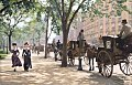 Cab stand in Madison Square Park, New York, ca 1900.